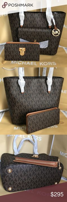 🌴Michael Kors Set🍀 100% Authentic Michael Kors Tote Bag and Wallet, both brand new with tag!😍😍😍 Michael Kors Bags Totes