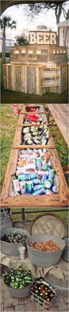 How creative! Outdoor wedding drinks an country chic never looked so good! The wooden beer taps and coolers look so cool!