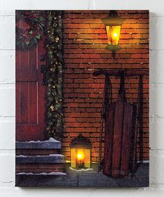 Look what I found on Christmas Door Light-Up Canvas by Ohio Wholesale, Inc. Christmas Wall Art, Christmas Paintings, Christmas Door, Merry Christmas, Light Up Pictures, Veranda Design, Light Up Canvas, Front Porch Design, Window Clings