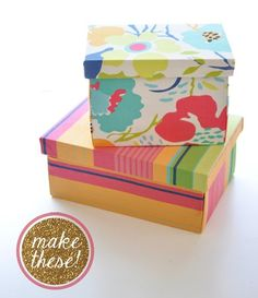 DIY Fake fabric covered boxes