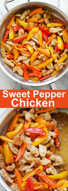 Sweet Pepper Chicken - quick and easy chicken stir-fry with mini sweet peppers, in a savory and sweet sauce made with Thai sweet chili sauce and oyster sauce. So delicious | rasamalaysia.com