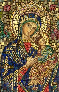 Polish Art Center - Matka Boska Nieustajacej Pomocy - Our Lady Of Perpetual Help Mosaic Icon Religious Pictures, Religious Icons, Religious Art, Blessed Mother Mary, Blessed Virgin Mary, Virgin Mary Art, Mary And Jesus, Byzantine Art, Holy Mary