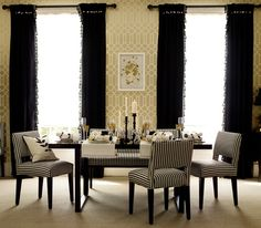 Curtain option. Black curtains with black fringe. DIY. For neutral + gold + coral living room. Asymmetrical. One pulled back, tied low. Fringe on both sides.