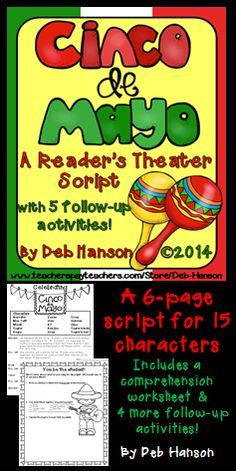 The Cinco de Mayo script has parts for 15 characters.  (A smaller group could easily perform this, however, by simply assigning kids multiple parts.)  The script is six pages.  This script comes with five bonus activities!
