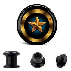 #Captain america #blood #splattered logo ear plug,  View more on the LINK: http://www.zeppy.io/product/gb/2/181629475909/