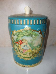 Vintage Turquoise Biscuit Tin England Sevres by WintervilleWonders, $18.00