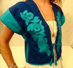 Vintage Josefa Oaxacan Mexican Embroidered Bolero Vest Boho Ethnic 60's - 70's
