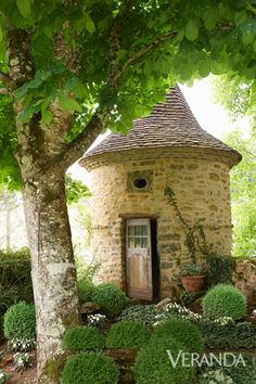 A restored farmhouse in France retains its earthy, centuries-old charm. Medieval pigeonnier in the garden. Stone Cottages, Cabins And Cottages, Little Cottages, Country Cottages, Stone Houses, Gazebo, Pergola, Deco Champetre, Fairytale Cottage