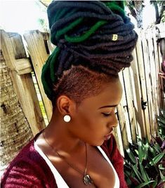 Faux locs is a versatile way that anyone can enjoy any types of dreads or braids to their day to Shaved Side Hairstyles, Faux Locs Hairstyles, Dope Hairstyles, Wedding Hairstyles, Blonde Dreads, Faux Dreads, Faux Locs With Yarn, Dreadlocks, Braids With Shaved Sides