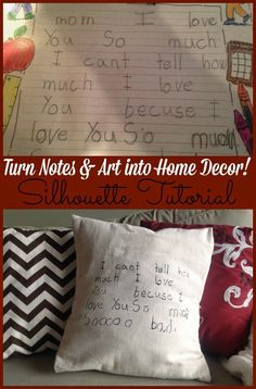 Hometalk :: Silhouette Project Idea: Turn Kids' Notes & Drawings Into Keepsakes