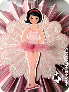 ballerina birthday ♥ About half way down the blog, click on link to free printable dolls.  This ballerina doll is in the Betsy McCall, October 1960 issue.