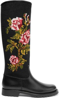 Saint Laurent Leather and Embroidered Canvas Rain Boots https://api.shopstyle.com/action/apiVisitRetailer?id=517705469&pid=uid8721-33958689-52