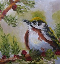 Chestnut-sided Warbler by Susan E Jones Oil ~ 6 x 6 on panel. 20% of proceeds benefit Boys & Girls Club of Maury County.    $95