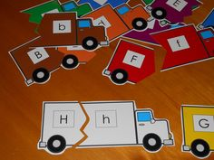 Truck Letter Match - children match up all the trucks with the matching letters