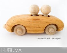 KURUMA Handmade Wooden Toys With Passengers That Wobble As The Car Moves