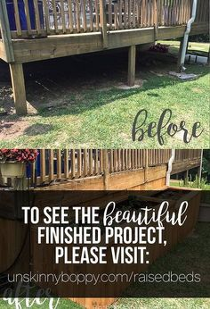 My back yard got a major makeover with the addition of raised garden beds to enclose my back porch. The porch was pretty plain before, without much curb appeal… Landscaping Company, Outdoor Landscaping, Outdoor Gardens, Raised Planter, Raised Garden Beds, Raised Beds, Porch Enclosures, Stone Planters, Pergola Pictures