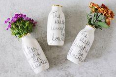 The Earth Laughs in Flowers - Ceramic Vase - Bud Vase - Ceramic Gold Vase…