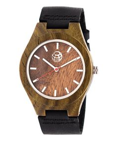 This Olive & Black Stripe Leather-Strap Watch by EARTH wood watches is perfect! #zulilyfinds
