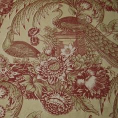 7.25 yards Victorian Peacock Garden Repro Handprinted 100% Cotton Toile Home Decorating Fabric Under $10 per yard. See more at http://RestorationFabricsAndTrims.com