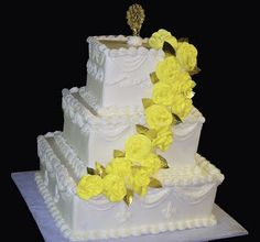 wedding cakes, yellow flower cakes, square cakes, specialty cakes, 3 tier cakes, http://tiered-expressions.com