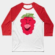 Raspberries II baseball tee by Slugbunny - raspberry, raspberries, berries, berry, food, tongue, cute, pun, red, green