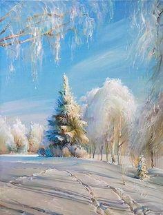 Winter Painting - Winter Day by Roman Romanov Winter Landscape, Landscape Art, Landscape Paintings, Winter Szenen, Russian Landscape, Illustration Noel, Winter Painting, Painting Snow, Art Pictures