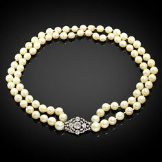 Showcase Presentation: Vintage 2.84ctw Old European Diamond & Double Strand Pearl Necklace in Platinum  Material info: Solid Platinum Clasp