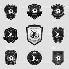 Black soccer emblems collections set on gray background Gray Background, Soccer, Symbols, Logos, Design, Toy Block, Futbol, European Football, Logo