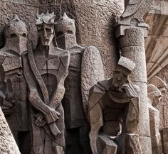 Detail of Gaudi's style - Sagrada Familia basillica in Barcelona, Catalonia, Spain.