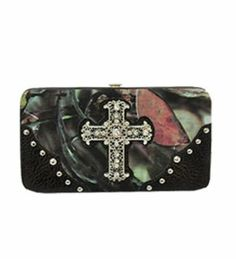 Black Camouflage Fashion Cross Wallet With Rhinestones and Stud