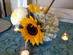 Sunflowers and Hydrangeas