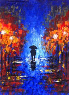 Original Huge Abstract Painting Night Walk by GargoviArtGallery, $165.00