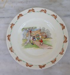 vintage Bunnykins child's plate Royal Doulton Barbara Vernon by MotherMuse on Etsy