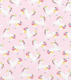 Novelty Cotton Fabric-Unicorn Pink