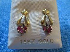 14K Yellow Gold Natural Red Ruby & Diamond Cluster Earrings - ESTATE FRESH 2.3gr #Cluster