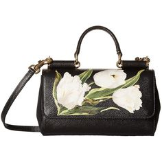Dolce & Gabbana Tulip Print iPhone Bag (Tulip. Bco. F. Nero) Cell... (1,310 CAD) ❤ liked on Polyvore featuring black