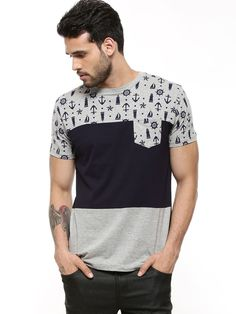 Buy SPRING BREAK Anchor Print Panel T-Shirt For Men - Men's Multi T-shirts Online in India