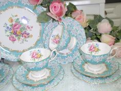 Enchantment Trio Teaset home vintage blue pink flowers shabby chic