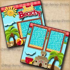 BEACH vacation 2 premade scrapbook pages for album layout scrapbooking DIGISCRAP #DigiScrapPrints