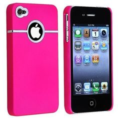 Hot Pink Deluxe W/chrome Rubberized Snap-on Hard Back Cover Case for AT&T Apple