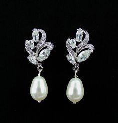 $36 Crystal Bridal Earrings, Crystal and Pearl Drop Earrings, Bridal Jewelry, Wedding Jewelry, FLEUR