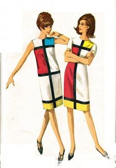 Simplicity 6400 Uncut Mod 60s Mondrian & YSL Inspired DRESS Vintage Sewing Pattern