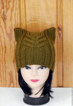 Купить Шапка- кошка,шапка с ушками,котошапка.вязаная шапка - хаки, в полоску, котошапка