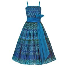 1950's Peacock-Blue Metallic Silk Organza Peplum Party Dress | From a collection of rare vintage day dresses at https://www.1stdibs.com/fashion/clothing/day-dresses/