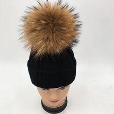 0dd3f0cc81b66 which in shower Children Genuine Raccoon Fur Pompom Winter Hat Cap Brand  Warm Thick Girl Cap