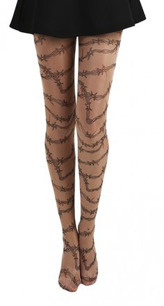 Barbed Wire Tattoo Tights