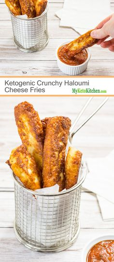 Diet Snacks Ketogenic Crunchy Haloumi Fries (Low Carb, Gluten Free, Grain Free) - What better fries are there than those made entirely of cheese! Our Crunchy Haloumi Keto Fries are so delicious, crunchy and cheesy. Keto Foods, Ketogenic Recipes, Keto Snacks, Low Carb Recipes, Diet Recipes, Healthy Snacks, Halumi Cheese Recipes, Cheese Snacks, Haloumi Cheese