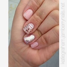 DIY light pink and gold nails! Gold stripes. Gold sparkle. Pink.  wonderfullymade.jamberry.com