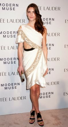 Hilary Rhoda in a beautiful roman dress