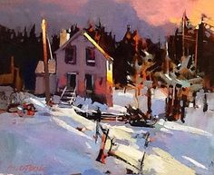 "First Snow Hornby Island by Michael O'Toole Acrylic ~ 10"" x 12"""